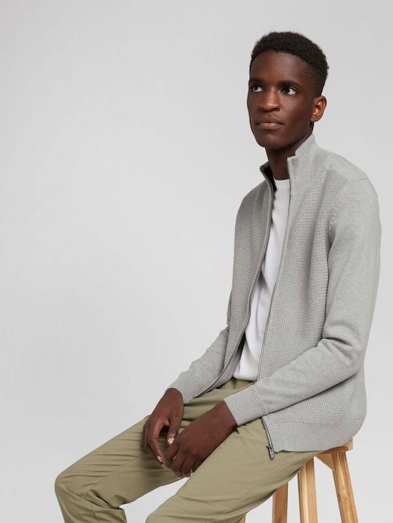 Strukturierte Jacke mit Bio-Baumwolle - Männer - Light Soft Grey Melange - 5 - TOM TAILOR
