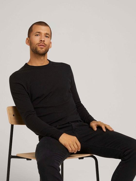 Mottled knit sweater - Men - Black - 5 - TOM TAILOR