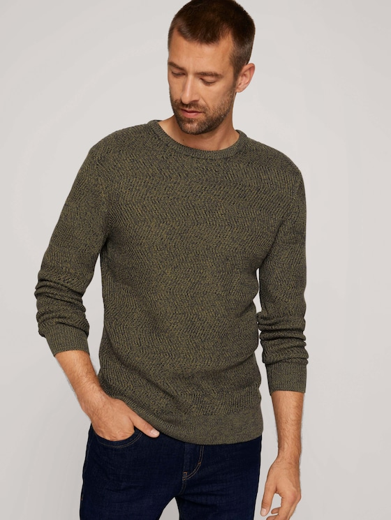 Organic cotton sweater - Men - olive navy mouline - 5 - TOM TAILOR