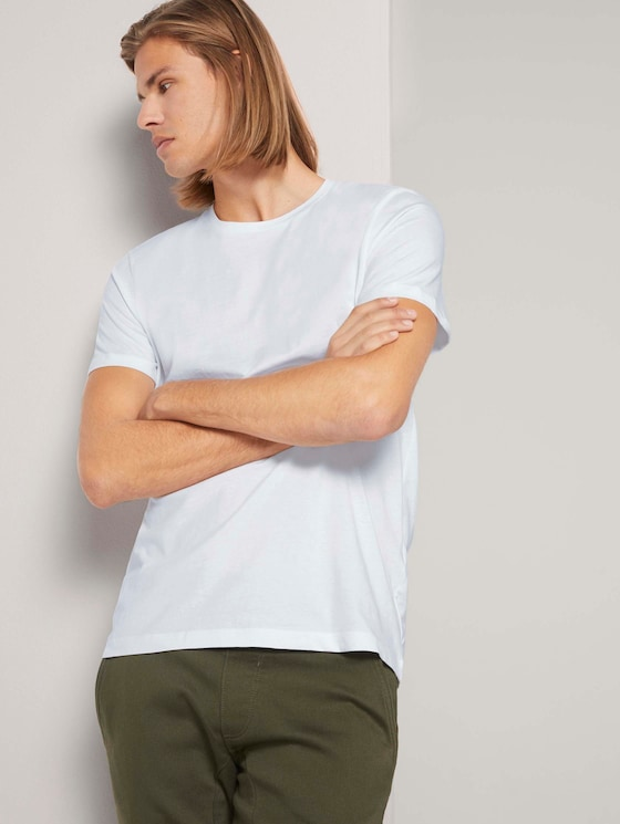 Basic T-Shirt im Dreierpack - Männer - White - 5 - TOM TAILOR Denim