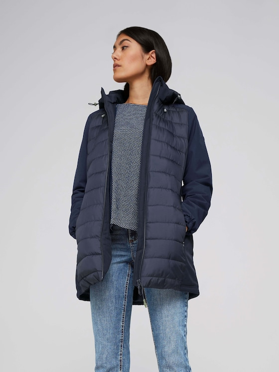 Long softshell quilted jacket - Women - Sky Captain Blue - 5 - TOM TAILOR