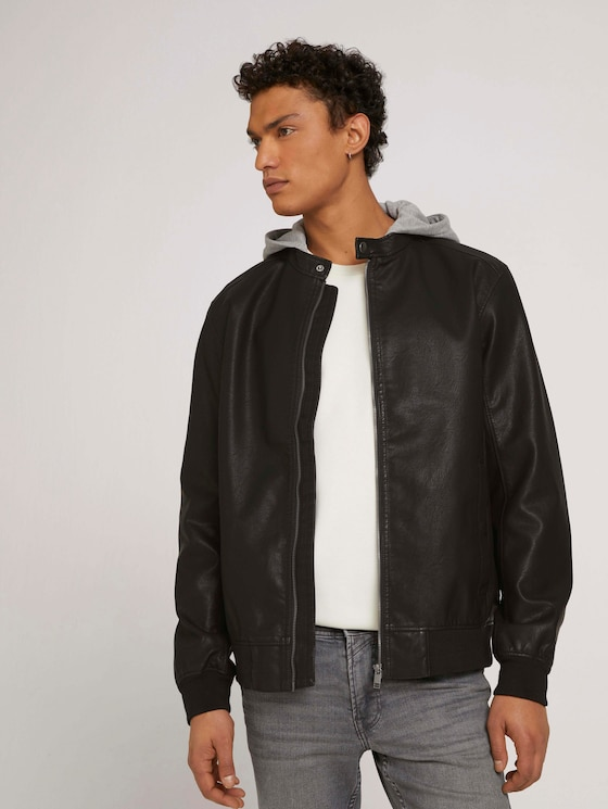 leather jacket with a hood - Men - Black - 5 - TOM TAILOR Denim