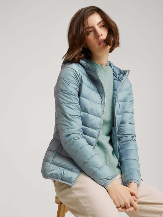 lightweight quilted jacket with a hood - Women - grey mint - 5 - TOM TAILOR Denim