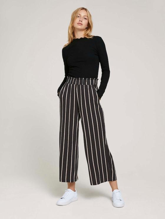 Geplooide Culotte broek - Vrouwen - black beige vertical stripe - 3 - TOM TAILOR Denim