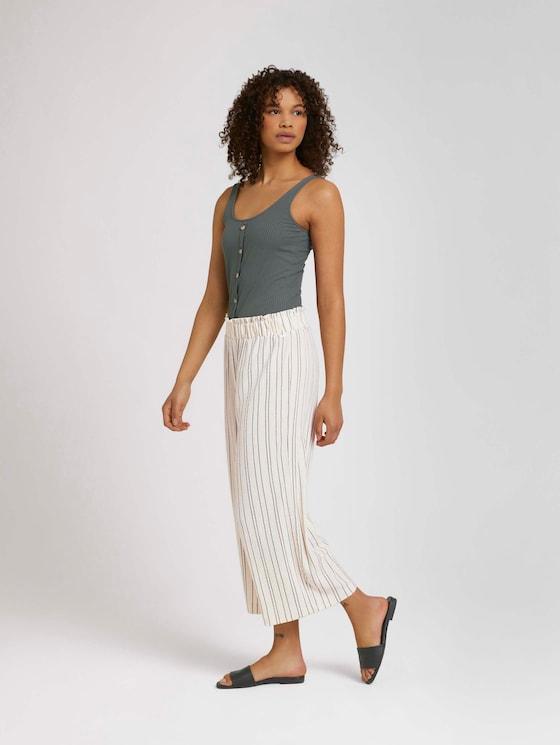 Gestreepte plooien Culotte broek - Vrouwen - creme black structured stripe - 3 - TOM TAILOR Denim