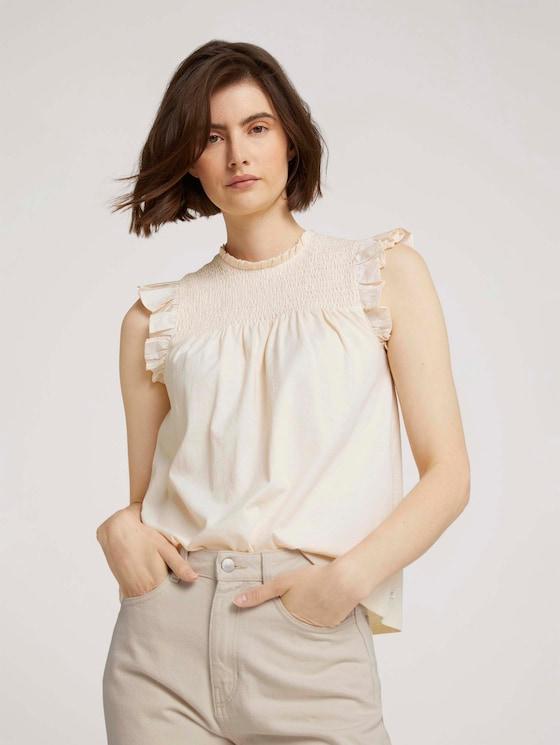 Ruffled top with flounces - Women - soft creme beige - 5 - TOM TAILOR Denim