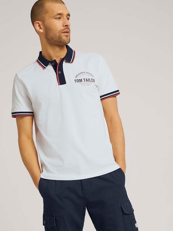 Poloshirt mit Print - Männer - Off White - 5 - TOM TAILOR