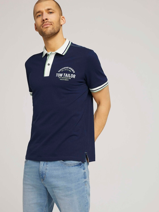 Poloshirt mit Print - Männer - Sailor Blue - 5 - TOM TAILOR