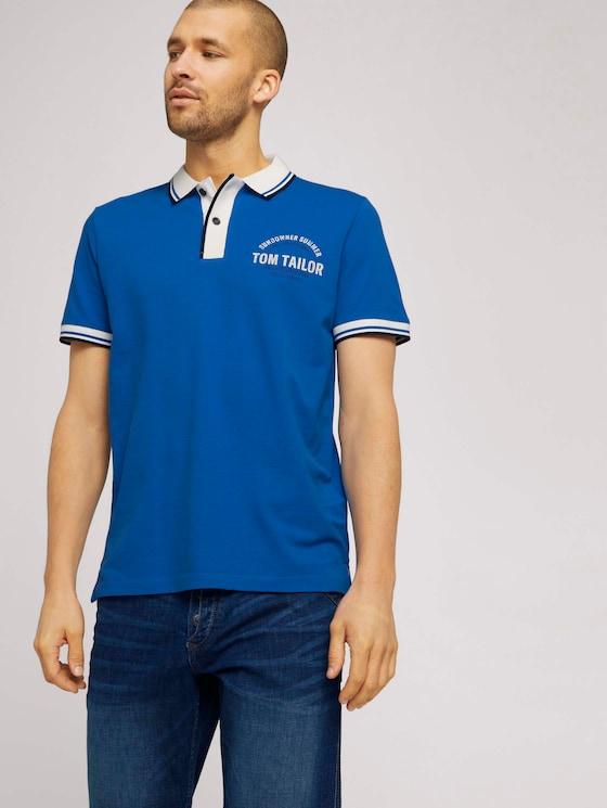 Poloshirt mit Print - Männer - victory blue - 5 - TOM TAILOR