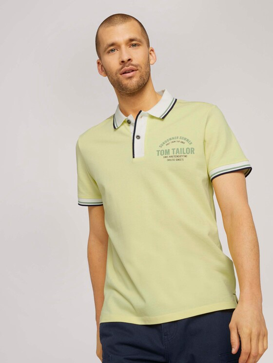 Poloshirt mit Print - Männer - pale straw yellow - 5 - TOM TAILOR