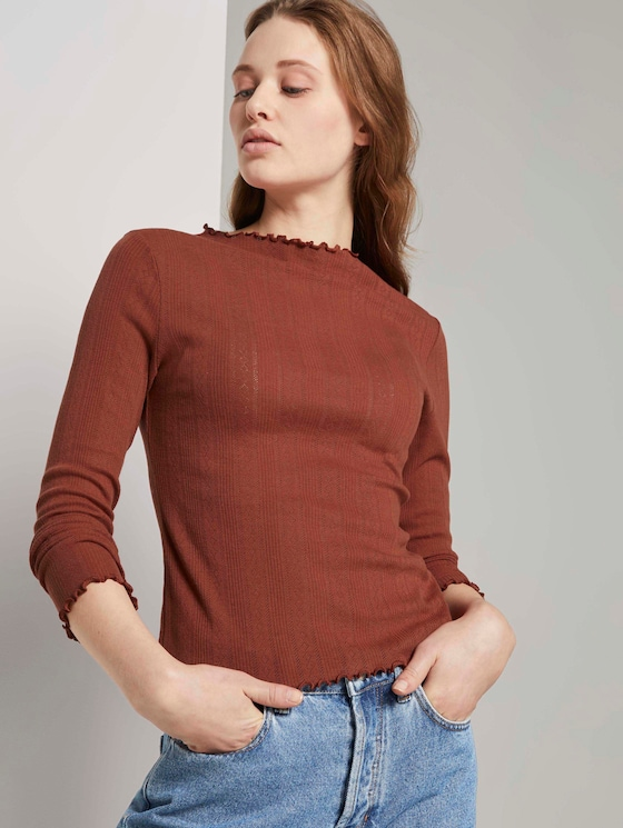strukturiertes Langarmshirt - Frauen - Rust Orange - 5 - TOM TAILOR Denim