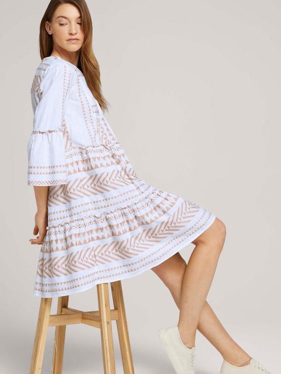 Gemustertes Boho-Kleid mit Volants - Frauen - desert linen - 5 - TOM TAILOR