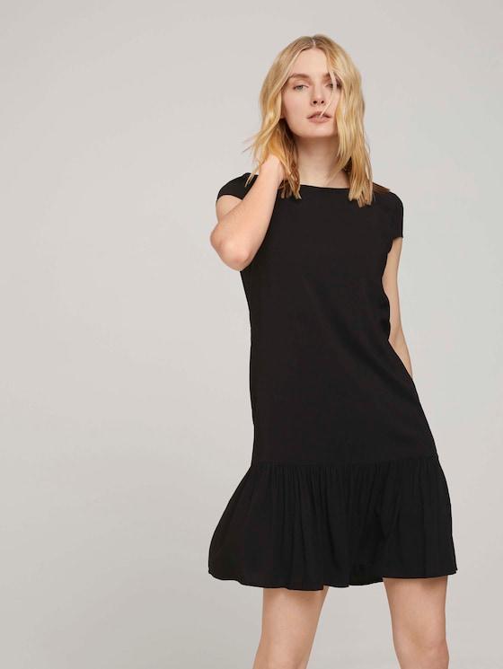 Kurzes Kleid mit Volant - Frauen - deep black - 5 - TOM TAILOR