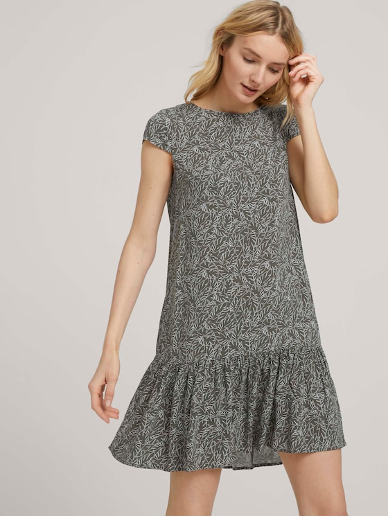 Kurzes Kleid mit Volant - Frauen - khaki white outline leaves - 5 - TOM TAILOR
