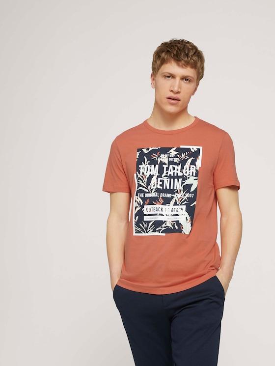 T-shirt met print van biologisch katoen - Mannen - orange lobster - 5 - TOM TAILOR Denim