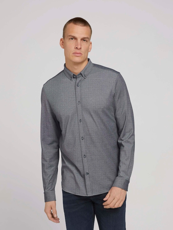 Overhemd getextureerd - Mannen - sailor blue two tone pique - 5 - TOM TAILOR