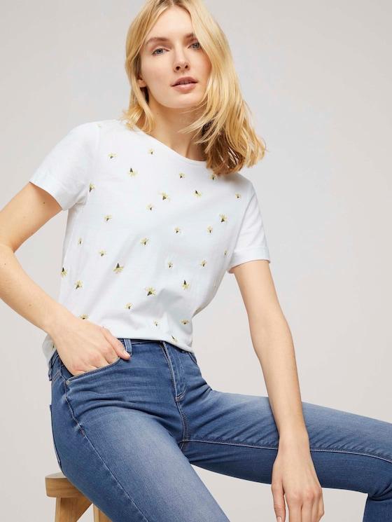 T-Shirt mit Bio-Baumwolle - Frauen - offwhite floral embroidery - 5 - TOM TAILOR