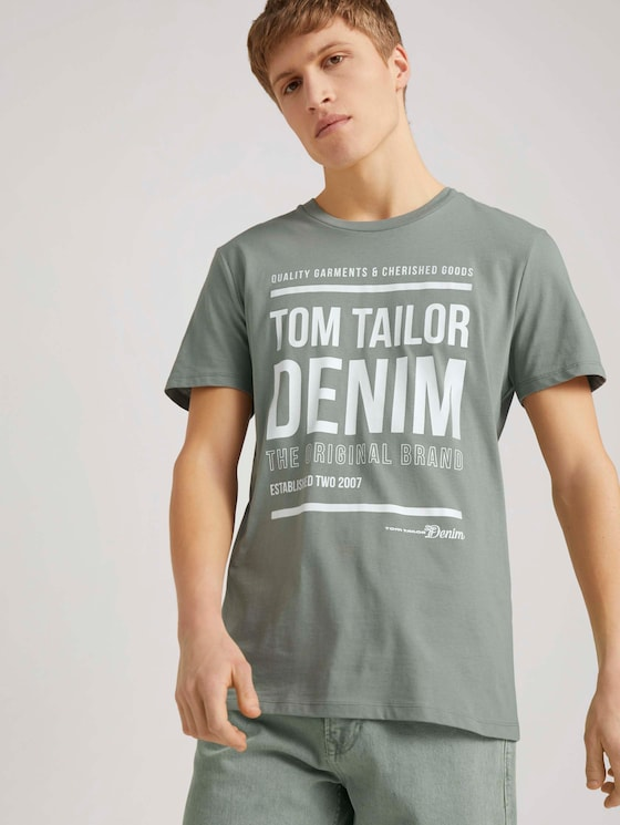 T-Shirt mit Print - Männer - Greyish Shadow Olive - 5 - TOM TAILOR Denim