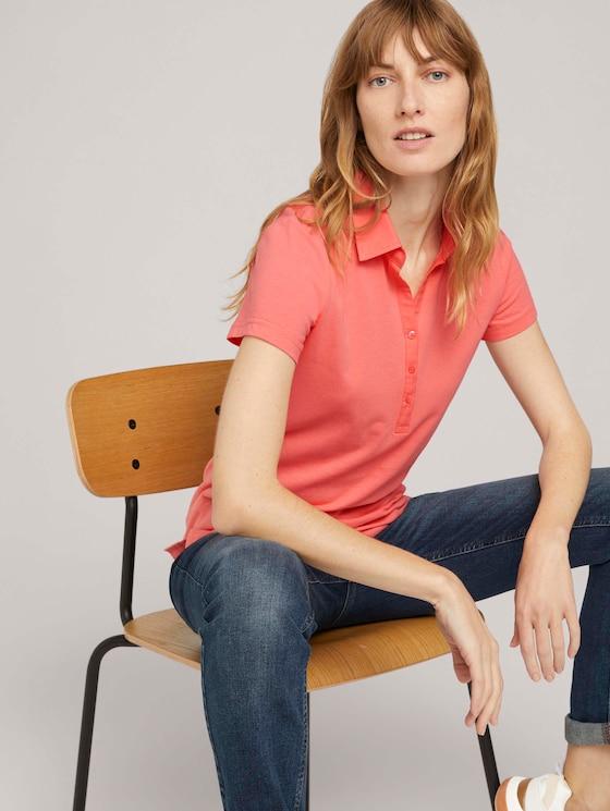 Poloshirt mit kleinem Logoprint - Frauen - strong peach tone - 5 - TOM TAILOR