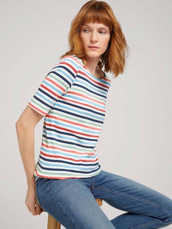 T-shirt gestreift mit Bio-Baumwolle  - Frauen - peach blue mulitcolor stripe - 5 - TOM TAILOR
