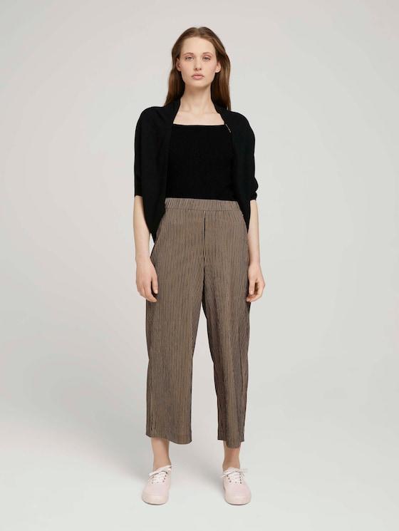 Gestreifte Culotte Hose mit elastischem Bund - Frauen - black beige structured stripe - 3 - TOM TAILOR Denim
