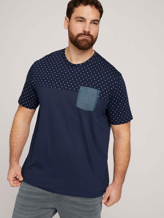 gepunktetes T-Shirt mit Bio-Baumwolle  - Männer - navy base white element design - 5 - Men Plus