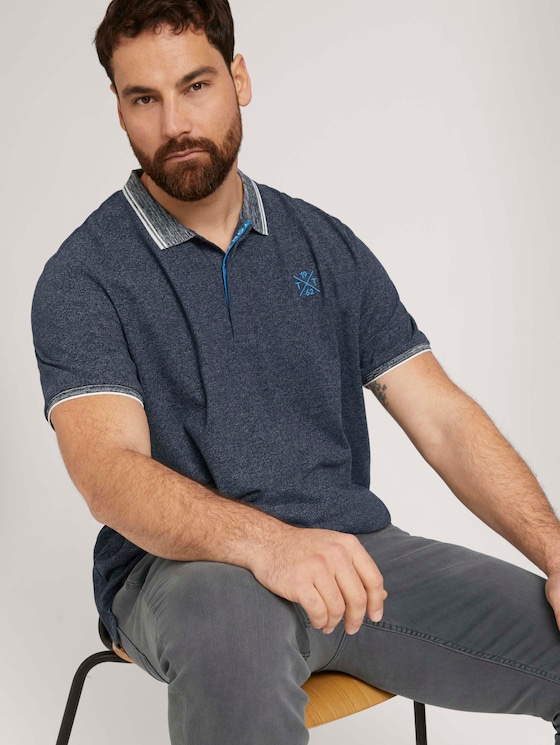 Poloshirt mit Logoprint - Männer - Dark Blue - 5 - Men Plus