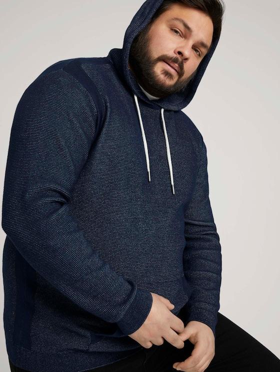 strukturierter Hoodie mit Bio-Baumwolle  - Männer - Dark Blue - 5 - Men Plus