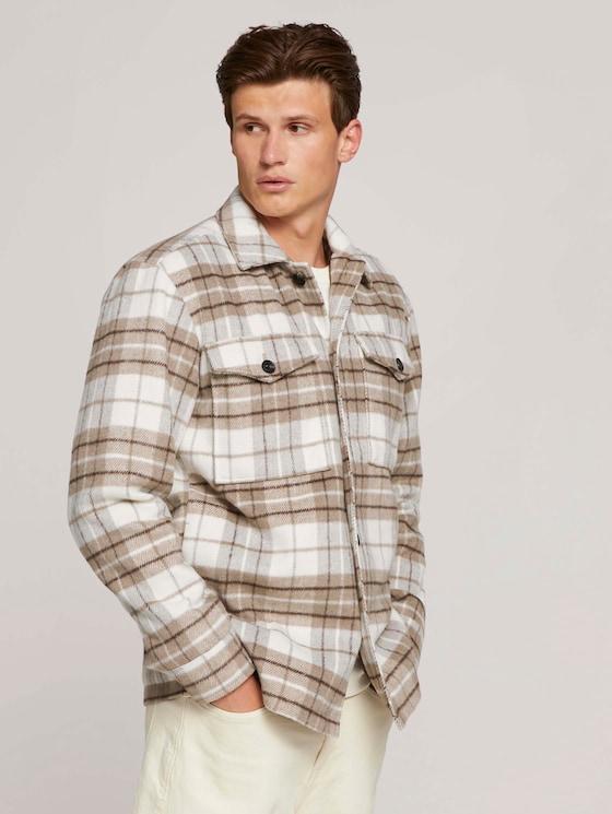 checked shirt jacket - Men - off white beige big cosy check - 5 - TOM TAILOR Denim