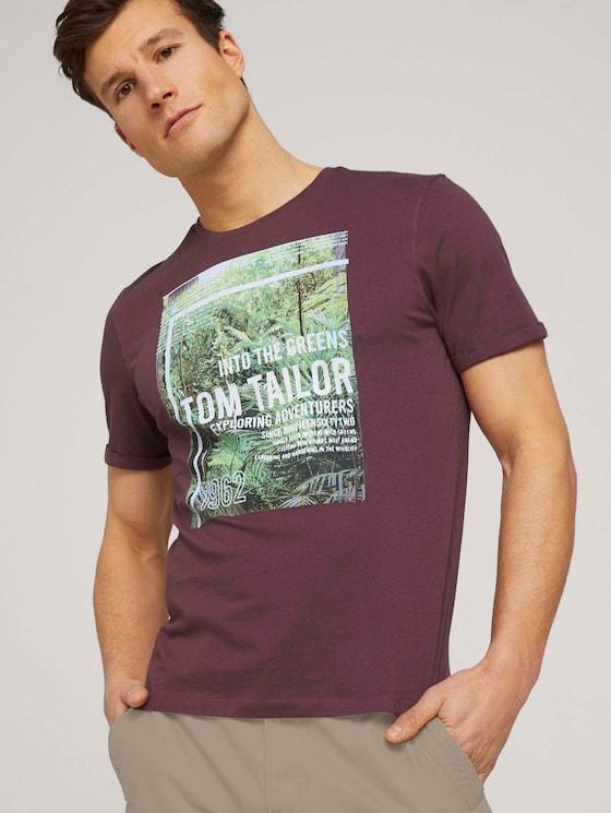 T-Shirt mit Print - Männer - Dusty Wildberry Red - 5 - TOM TAILOR