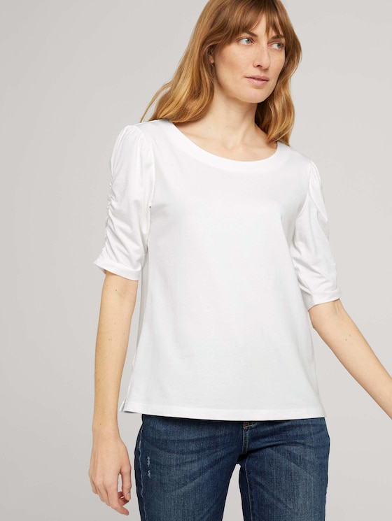 T-Shirt mit gerafften Ärmeln - Frauen - Whisper White - 5 - TOM TAILOR