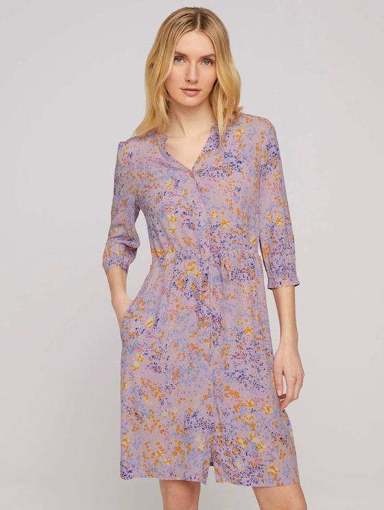 Blusenkleid mit Blumenmuster - Frauen - lilac yellow flower design - 5 - TOM TAILOR