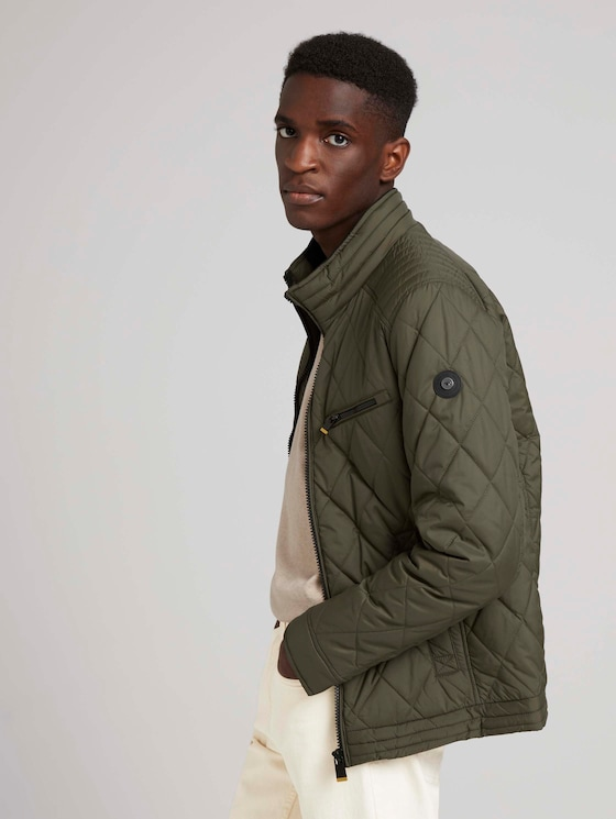Jacket with quilted patterns - Men - Olive Night Green - 5 - TOM TAILOR