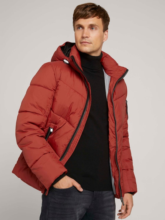quilted puffer jacket - Men - chili oil red - 5 - TOM TAILOR