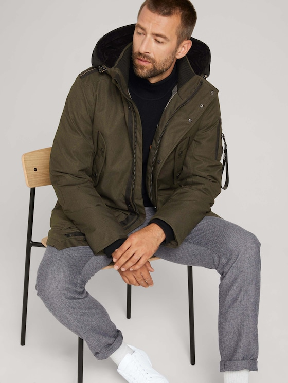 Parka with a hood - Men - green twill structure - 5 - TOM TAILOR