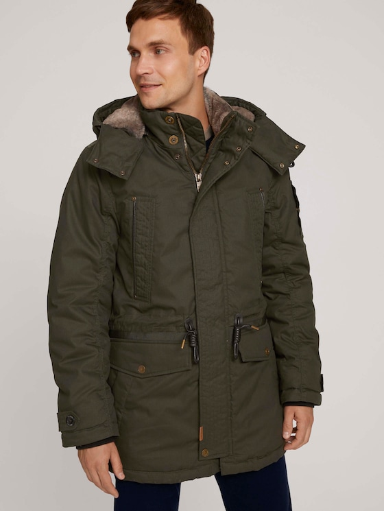 Parker with a hood - Men - Shadow Olive - 5 - TOM TAILOR