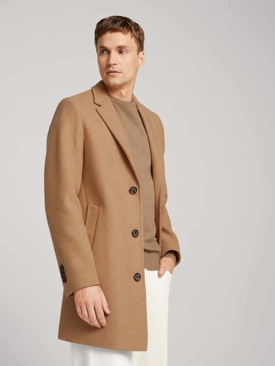 Wool coat - Men - beige wool structure - 5 - TOM TAILOR