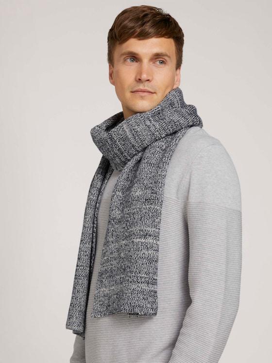 Basic scarf - Men - navy white mouline - 5 - Tom Tailor E-Shop Kollektion