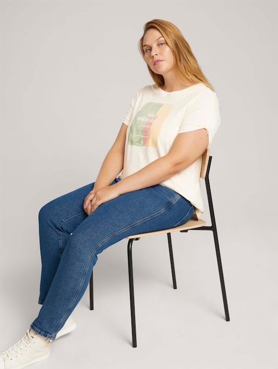 Curvy - T-shirt met print van biologisch katoen - Vrouwen - soft creme beige - 5 - My True Me
