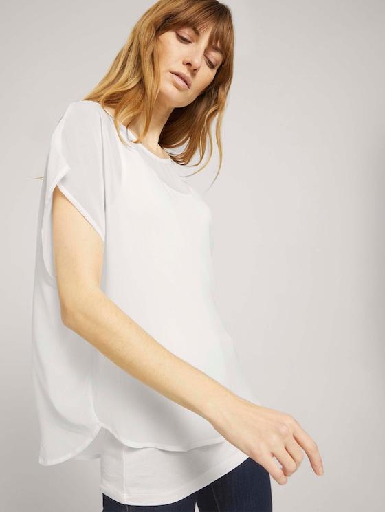 Shirt mit Chiffon - Frauen - Whisper White - 5 - TOM TAILOR