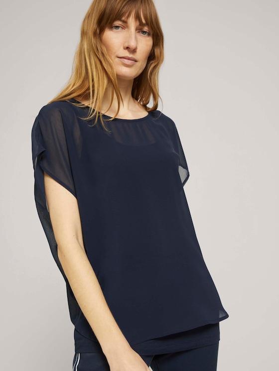 Shirt mit Chiffon - Frauen - Sky Captain Blue - 5 - TOM TAILOR