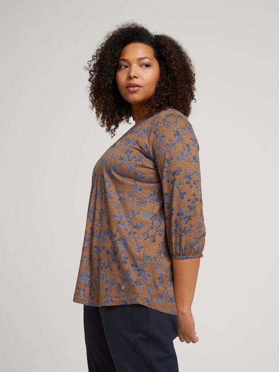 Curvy - V-neck blouse - Women - brown blue floral design - 5 - My True Me