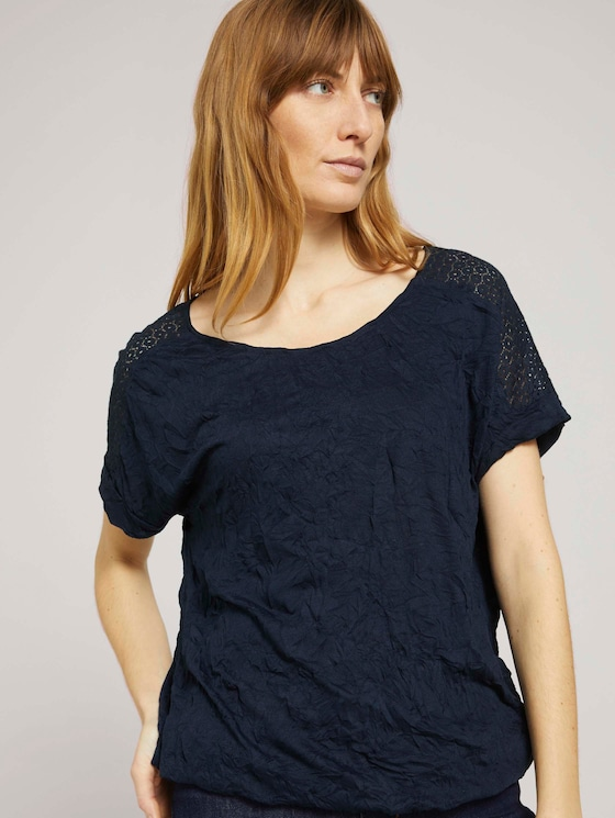 T-Shirt mit Spitze in Knitteroptik - Frauen - Sky Captain Blue - 5 - TOM TAILOR