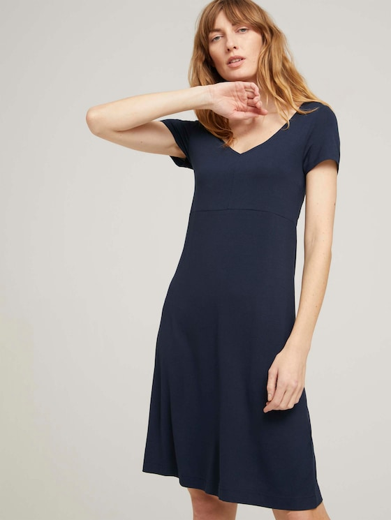 Jerseykleid mit V-Ausschnitt - Frauen - Sky Captain Blue - 5 - TOM TAILOR