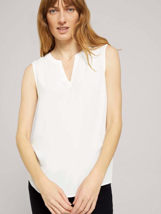Ärmellose Bluse mit LENZING™ ECOVERO™ - Frauen - Whisper White - 5 - TOM TAILOR