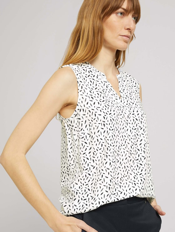 Ärmellose Bluse mit LENZING™ ECOVERO™ - Frauen - offwhite feather design - 5 - TOM TAILOR
