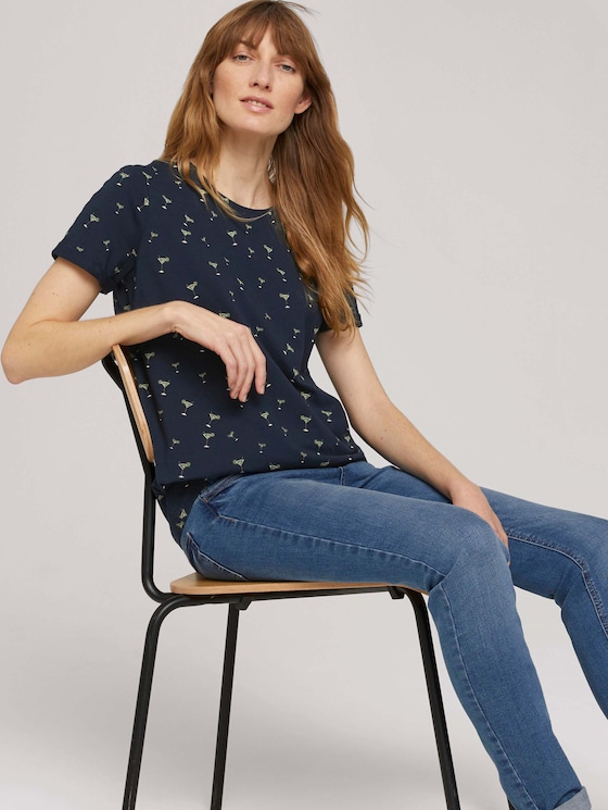 T-Shirt mit Bio-Baumwolle - Frauen - blue cocktail minimal - 5 - TOM TAILOR