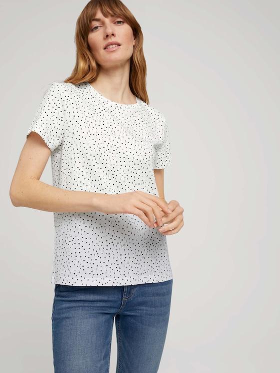 T-Shirt mit Bio-Baumwolle - Frauen - offwhite dot design - 5 - TOM TAILOR