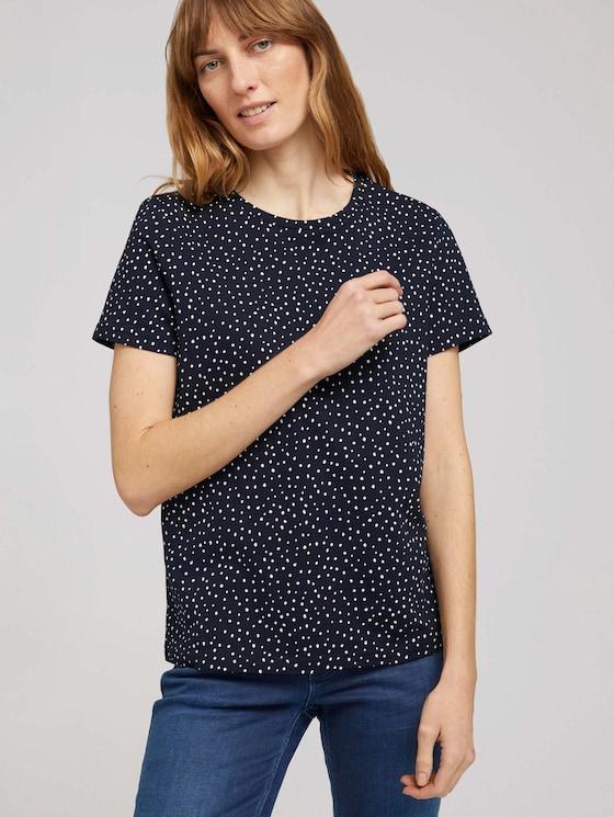 T-Shirt mit Bio-Baumwolle - Frauen - navy dot design - 5 - TOM TAILOR