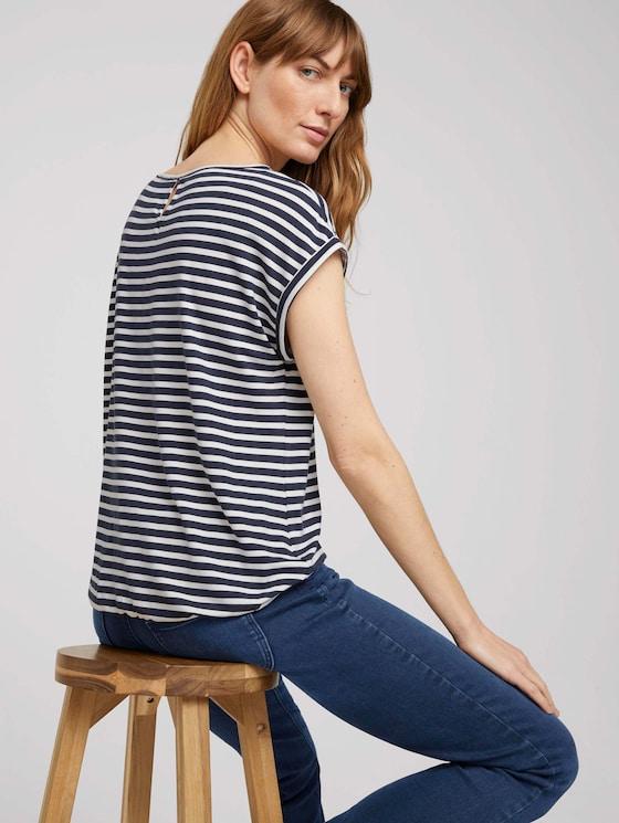 Elastisches T-Shirt mit Print - Frauen - navy stripe - 5 - TOM TAILOR